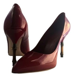 Gucci Vernice Crystal Patent Patent Leather Candy Leather Bamboo Italy Italian Made In Italy 7 1/2 Ruby Red Pumps