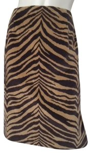 Talbots Straight Pencil Tiger Print Faux Suede Skirt Gold & Black