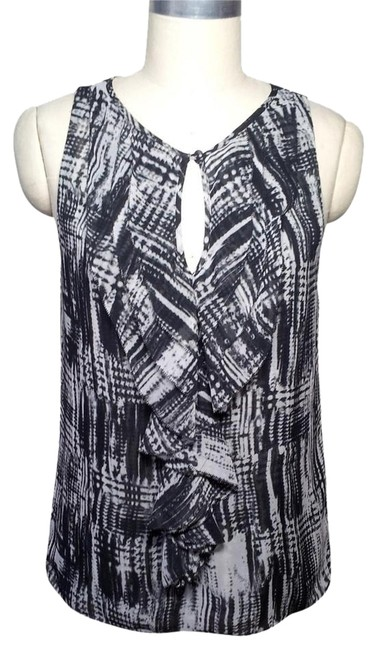 Vince Camuto Ruffle Front Size Sm Sleevless Top Black White Gray