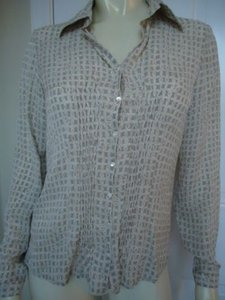 Talbots Silk Geometric Print Smock Button Front Taupe Cream Classy Top Multi-Color