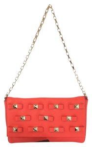 Kate Spade Bow Terrace Felisha Leather Maraschino Red Orange Clutch