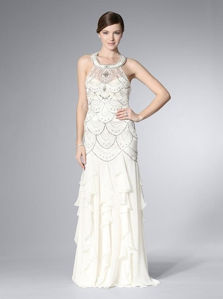 Sue wong sue wong ivory halter gown with ruffled skirt for Sue wong wedding dresses