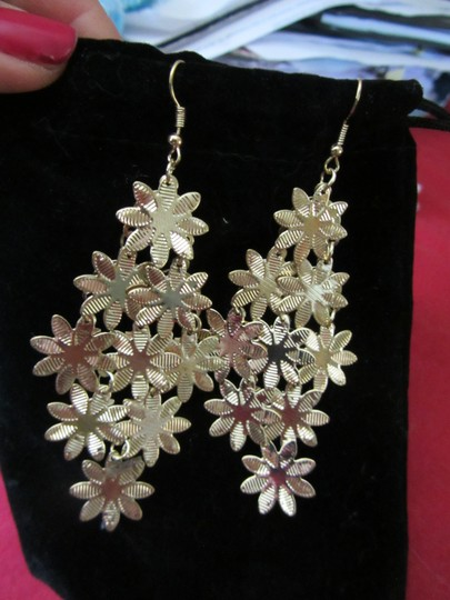 Other Fun and Flowery Gold Dangle Earrings!!! Very light weight so you can wear them all the time! GIFT IDEA! Image 3