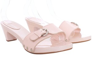 Burberry Leather Wood Slides Open Toe Pink Mules