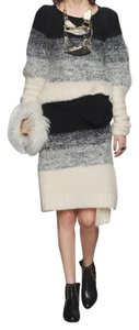 Maiyet Chunky Knit Knee Length Skirt Black and Off-white