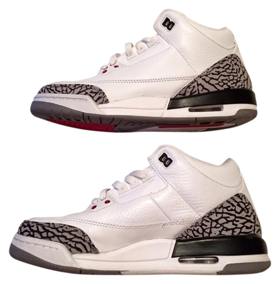 the latest 5de0b b0e96 Nike White Air Jordan 3 Retro White Fire Red-cement Grey-black Sz7 Sneakers