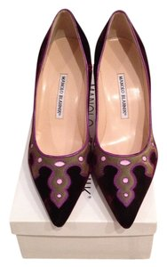 Manolo Blahnik Burgundy Velvet Pumps