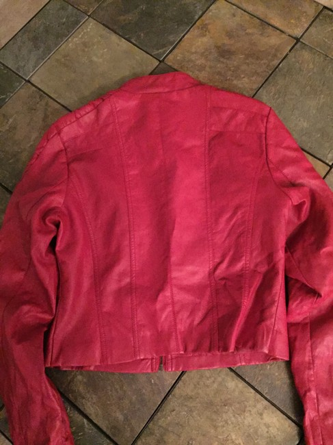 Palomares Fashions by George Palomares Faux Red Leather Jacket Image 2