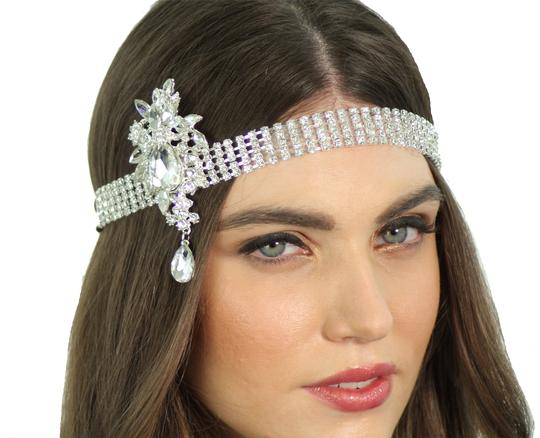 Silver 1920's Flapper Inspired Crystal Great Gatsby Headpiece Headband Hair Accessory Image 1