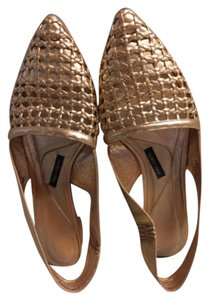 Anthropologie Rose gold metallic Flats