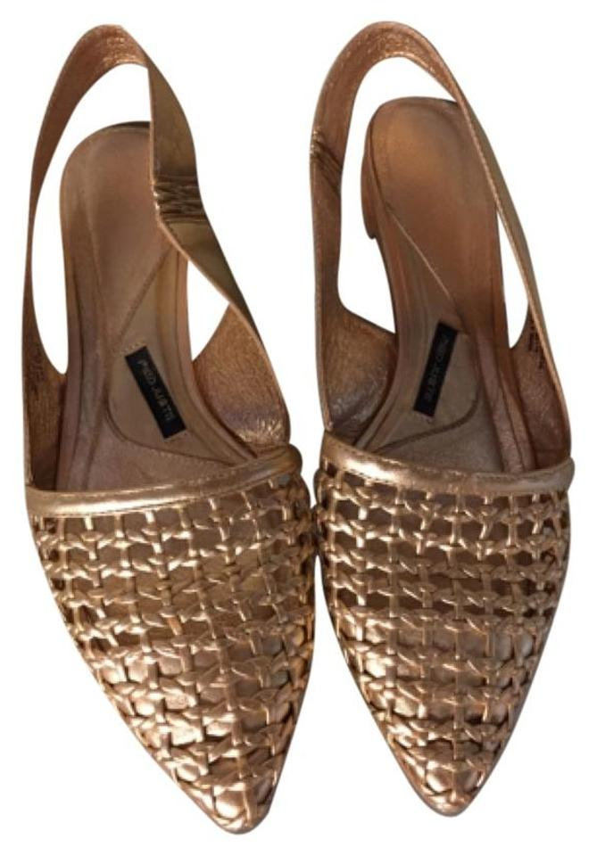 9a0e0f886074 Anthropologie Rose Gold Metallic Woven Sling Back Pump Flats Size US ...
