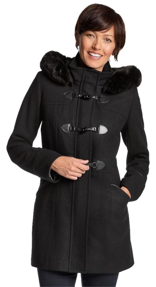 cf613265fea Forecaster of Boston Black Wool-blend Toggle-front Faux Fur Trim Removable Hood  Coat