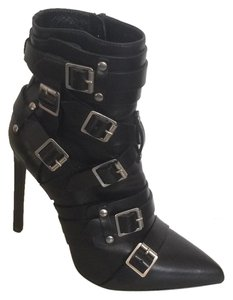 Saint Laurent Buckled Buckle Leather Silver Black Boots