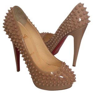 Christian Louboutin Spiked Patent Metal Round Toe Nude Pumps