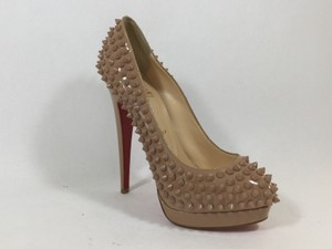 Christian Louboutin Spiked Patent Lady Pump Alti Nude Pumps