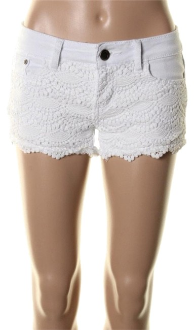 Hot Kiss White Denim and Lace Shorts Size 14 (L, 34) Hot Kiss White Denim and Lace Shorts Size 14 (L, 34) Image 1