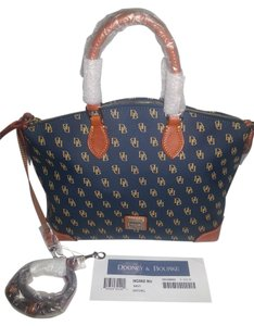 Dooney & Bourke Greta Strap & Satchel in Navy/Gold
