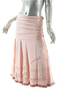 Louis Vuitton Silk Crepe Ruffle Skirt Pale Pink