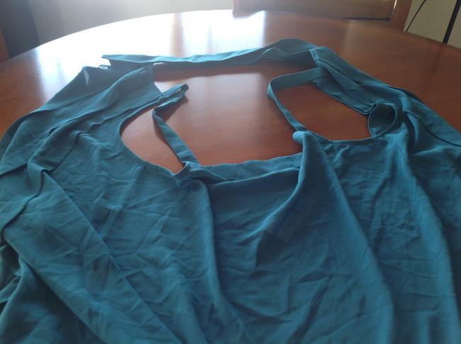 Foreign Exchange Green. Pleating Teal blue Halter Top Image 3