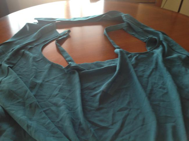 Foreign Exchange Green. Pleating Teal blue Halter Top Image 4