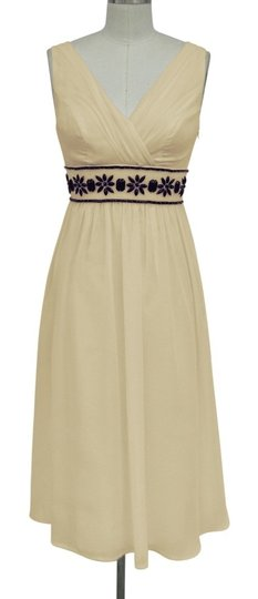 Beige Chiffon Goddess Beaded Waist Formal Wedding Dress Size 8 (M)