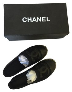 Chanel Mesh Leather Lambskin Espadrille Rare Black Flats