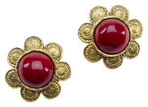 Chanel Chanel Vintage Red Sun Clip On Earrings