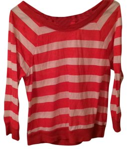 American Eagle Outfitters Stripes Summer Cotton Bow Boat Neck T Shirt White, coral