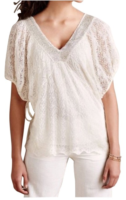 Item - Cream and Gold Knitted & Knotted Beaded Tunic Size 6 (S)