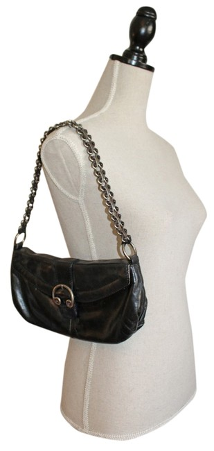 Elliott Lucca Black Leather with Silver Metal Chain Shoulder Bag Elliott Lucca Black Leather with Silver Metal Chain Shoulder Bag Image 1