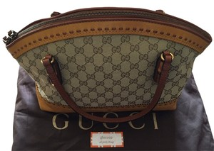 Gucci Leather Canvas Monogram Tote in Tan/Yellow