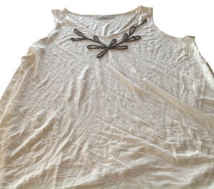 The Limited Sleeveless Sequins Details Like New Free Shipping Top Beige