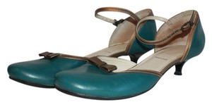KAJU by A.G. Giraudon Teal with Gold Piping Pumps