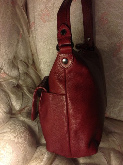 Elliott Lucca Double Twist Lock Closure Front Pockets Weave Leather Hobo Bag