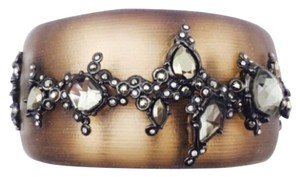 Alexis Bittar Alexis Bittar Large Brown Lucite And Crystal Wide Hinged Bracelet New