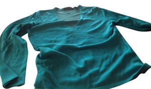 Express V Neck Silk Blend Soft And Comfy Aqua Blue Sweater