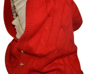 Michael Kors MICHAEL KORS Orange Wool Cable Knit Hood Scarf gold Button-Front One Size NWT