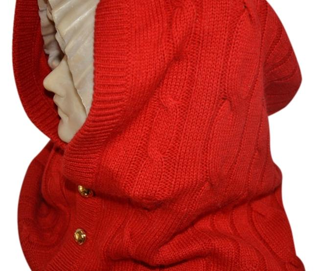 Item - Orange Wool Cable Knit Gold Button-front One Size Scarf/Wrap