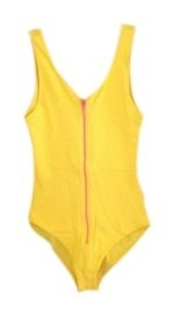 American Apparel Top Yellow, Pink zipper