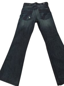 7 For All Mankind Dojo Dark Wash Brand New Bootleg Wide Lightly Destructed Demin Flare Leg Jeans-Dark Rinse