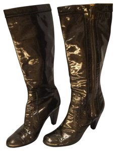Sofft Leather Gun Metal patent gray Boots