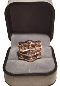 Other Womens 9K Rose Gold Filled AAA CZ Rainbow Shape Ring , size 8