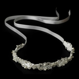 White Ribbon White Pearls Ciara Rhinestone Style Headband - Hair Accessory