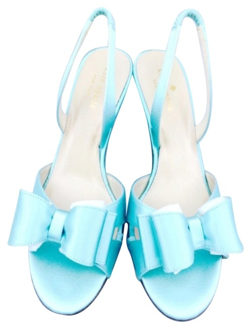 Item - Light Turquoise Satin Bow Sandal New with Tags Formal Shoes Size US 7 Regular (M, B)