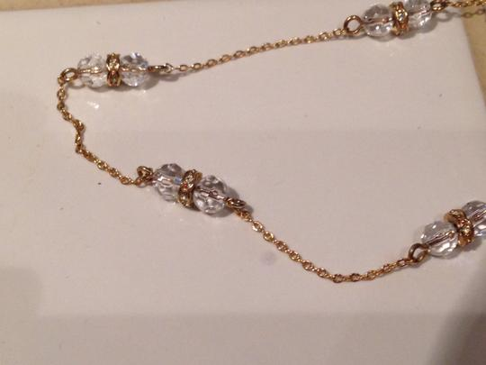 J.Crew Gold, white bead and diamond, long necklace