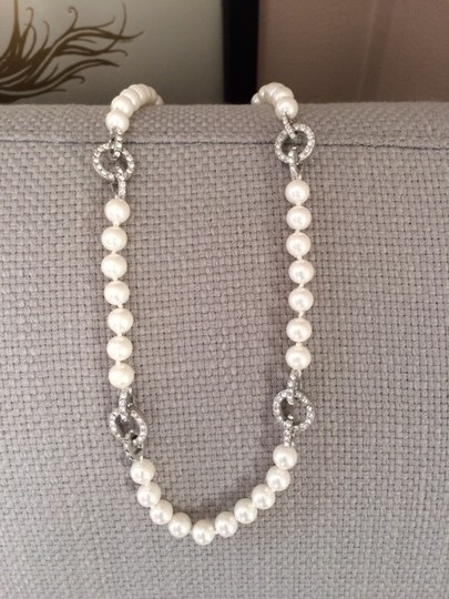 Nadri Soft White Pearl and Rhinestone Necklace
