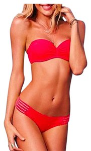 Other Red Strapless Pushup Bikini Two Piece Set Sexy Swimwear