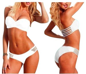 White Strapless Pushup Bikini Two Piece Set Sexy Swimwear