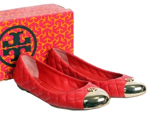 Tory Burch Cc Chanel Leather Red Flats