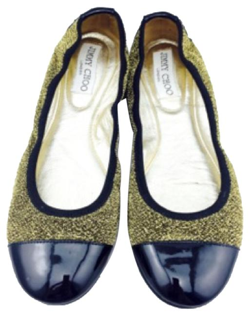 Jimmy Choo Black Patent and Gold Sparkle Ballet 36.6 Flats Size US 6.5 Regular (M, B) Jimmy Choo Black Patent and Gold Sparkle Ballet 36.6 Flats Size US 6.5 Regular (M, B) Image 1